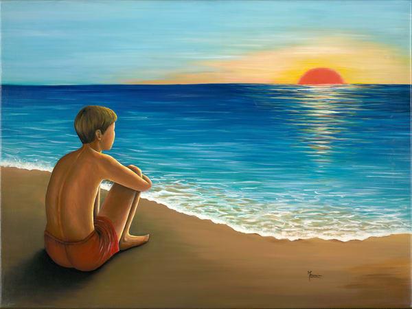 Mounira Francis, religious, painting,beach,sunset
