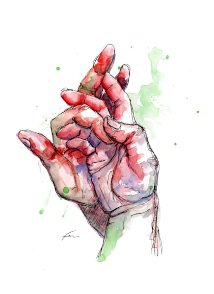 Holding Hands Watercolor Study 1