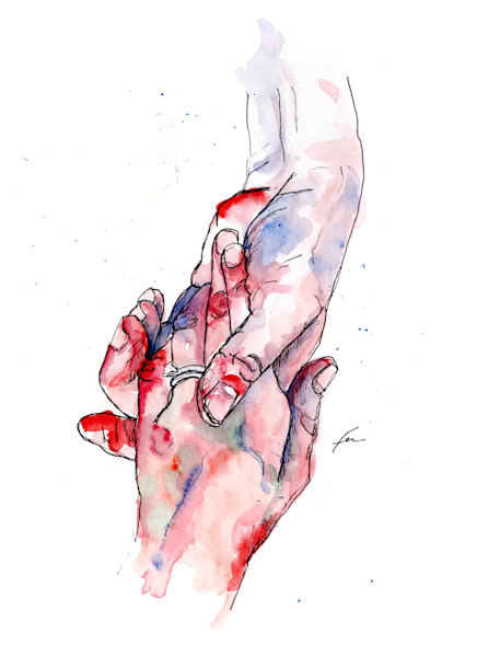 Holding Hand Watercolor Study 2 Art Print