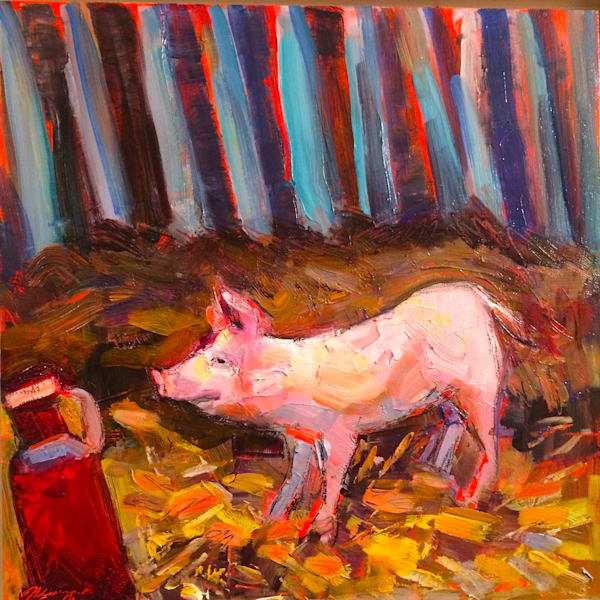"Beautiful ""Pink Millie 1"" Fantastic landscape/still life plein air oil painting with a beautiful 3 month old pig showing off for me while I was painting. Oil painting on paper by  Monique Sarkessian measures 12x12"" framed with a white wood frame."