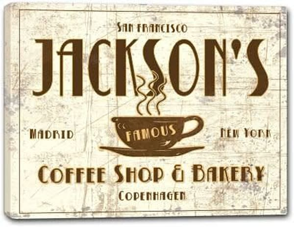 Coffee Shop & Bakery Canvas Sign | J Edgar Cool