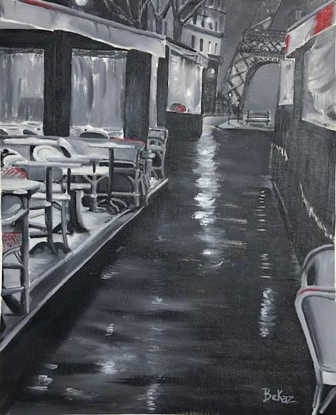 Paris Cafe Street in the Rain