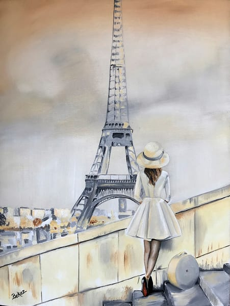 Eiffel, Tower, Paris, Painting, Fashion, Chic, Female