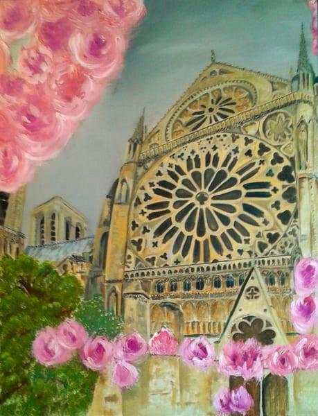Notre Dame Rose Window Paris Painting