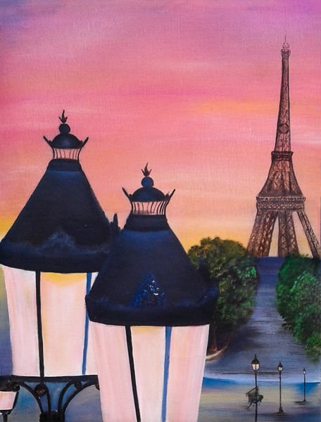 Eiffel Tower Paris Pink Lanterns Sunset