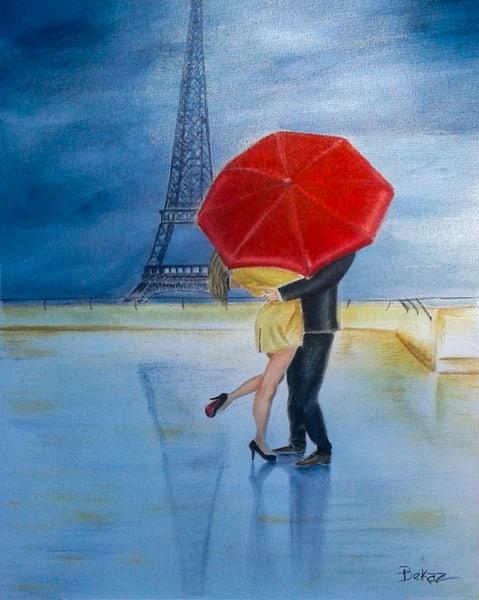 Eiffel Tower Painting Tango Kiss