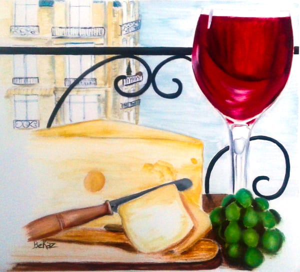 Red Wine Cheese Board Grapes Paris Theme