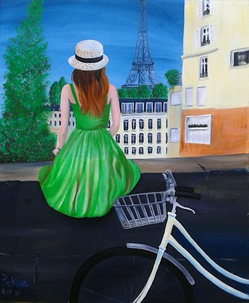 Eiffel Tower Painting Girl In Paris