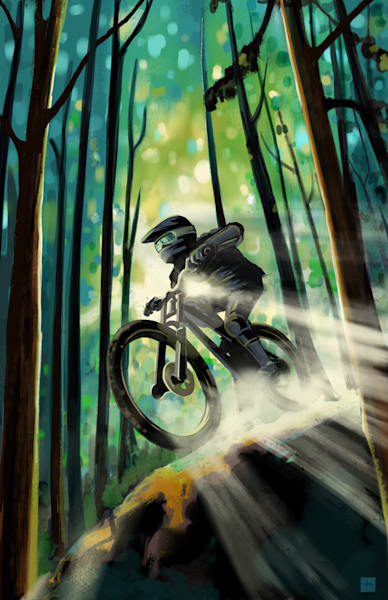 Forest Jump mountain bike fine art print by Sassan Filsoof
