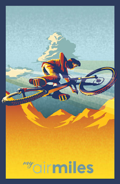 My Air Miles cycling art by Sassan Filsoof available as fine art prints here. Click to get yours.
