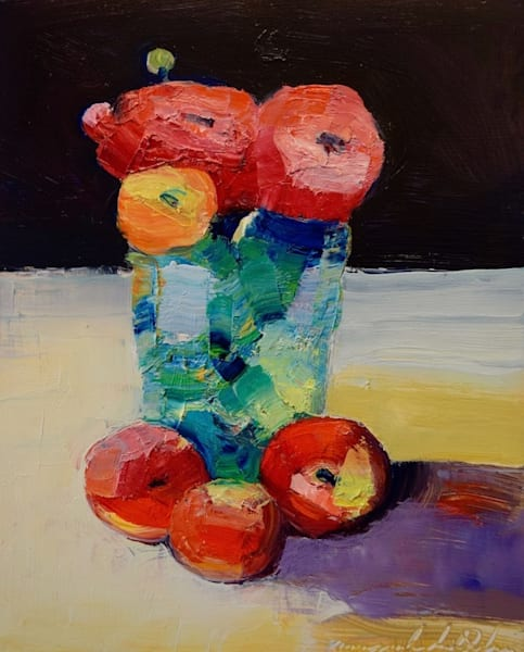 "Striking "" Together 4"" still life has pink and orange yellow ranunculus flowers and mini red and gold lady apples in a vintage green French glass vase. Original oil painting by Monique Sarkessian. Oil on wood measures 10"" x 8"","