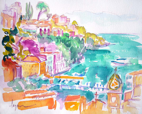 Marina Grande Watercolor Painting Sorrento Italy by Dorothy Fagan