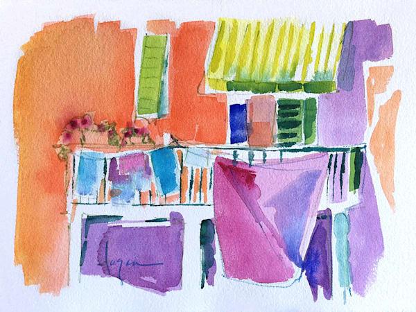 Clothesline Painting, Watercolor by Dorothy Fagan Backdoor Garden