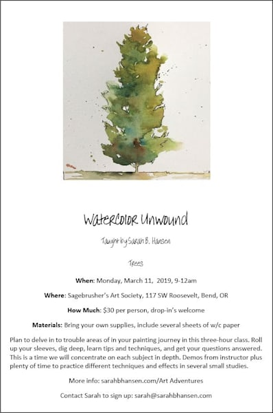 Watercolor Unwound - March watercolor class taught by Sarah B Hansen