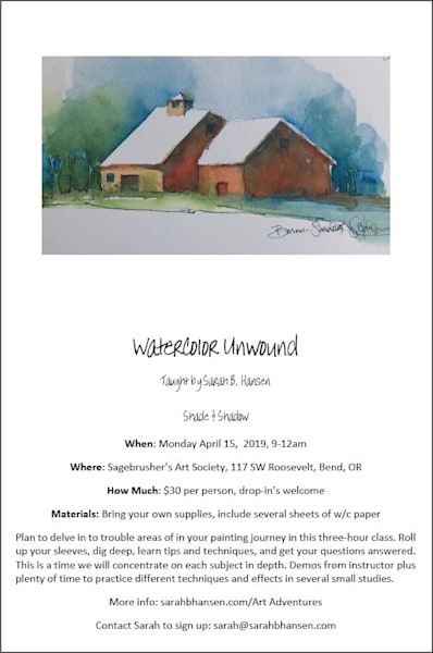 Watercolor Unwound -  April - monthly watercolor class taught by Sarah B Hansen