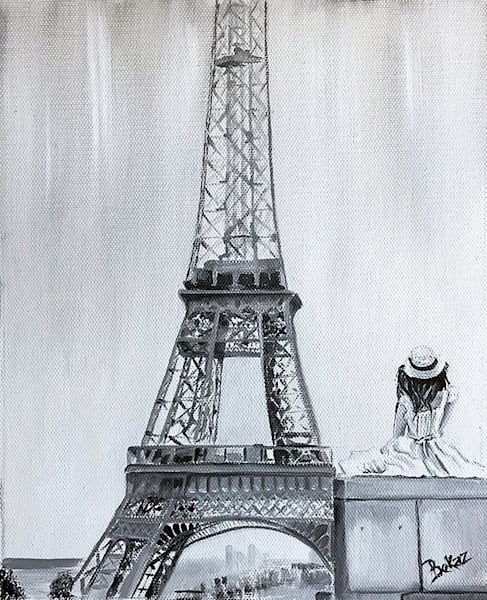 Eiffel Tower Paris Painting Original Oil Canvas Black and White