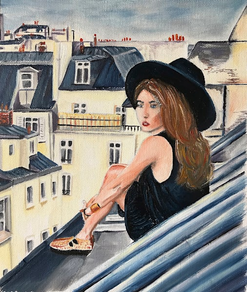 Paris Painting Blue Rooftops