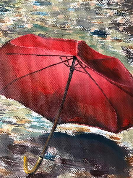 Eiffel Tower Paris Painting Red Umbrella Rain