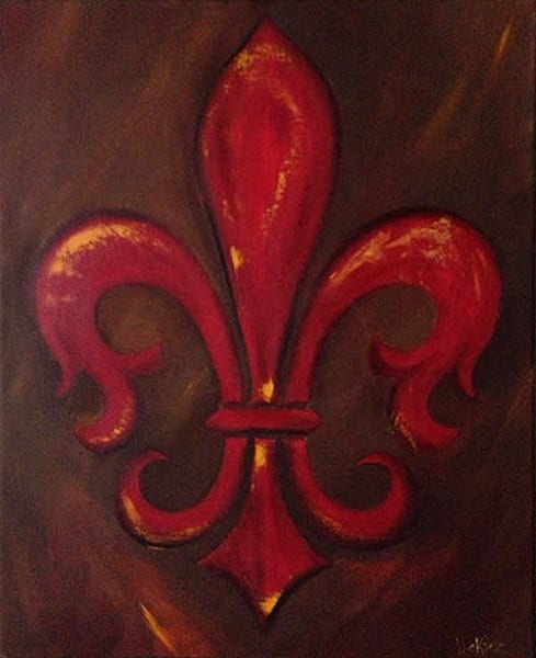 Fluer des Lis, Painting, French Symbol, Red, Art, Home Decor