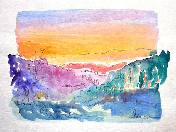 Florence Sunset, Original Watercolor Painting by Dorothy Fagan