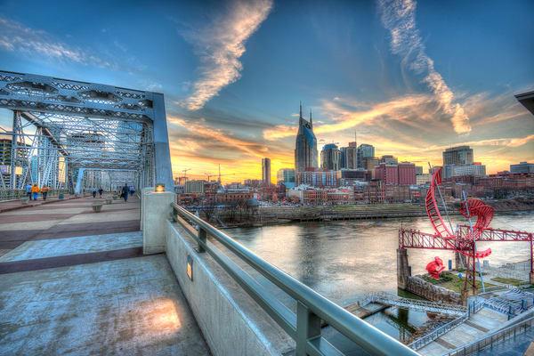 Nashville Skyline Art Sunset Blue Photograph