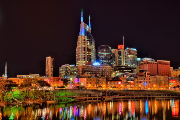 Nashville Skyline at Night Photograph Art