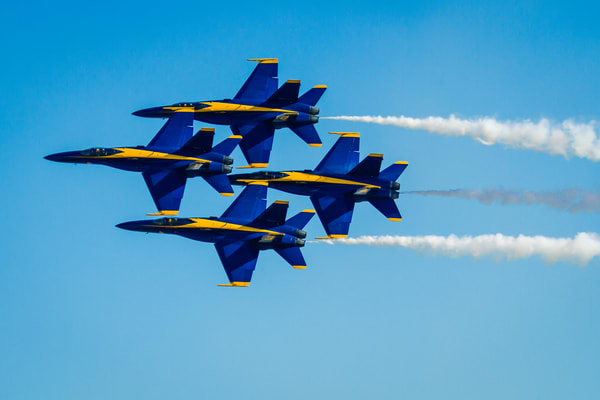 Fine Art Print of US Navy Blue Angels performing their Diamond 360 formation at the MCAS Miramar Air Show.