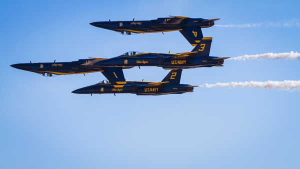 Fine Art print of US Navy Blue Angels in a Double Farvel formation at MCAS Miramar Air Show