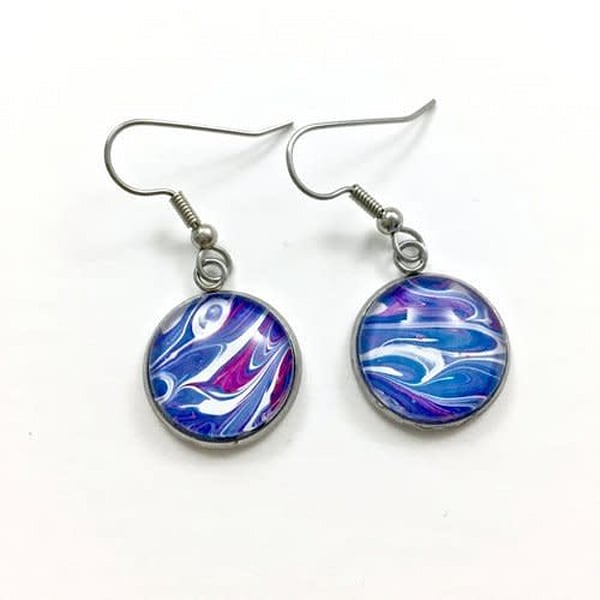 Hand Painted Earrings, Surgical Steel