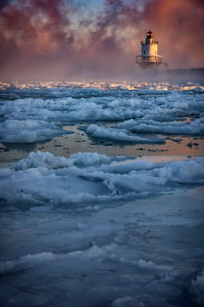 Icy Morning at Spring Point Ledge Lighthouse by Rick Berk