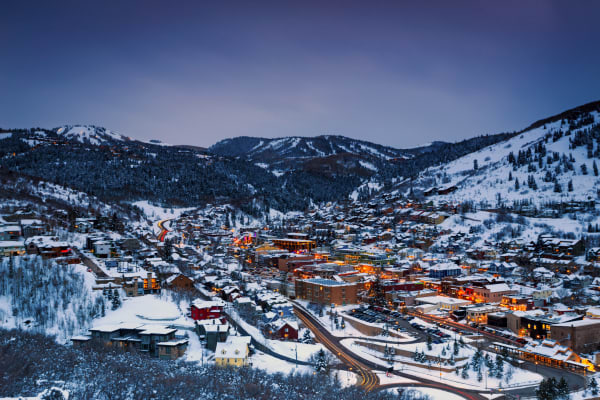 night scene in park city