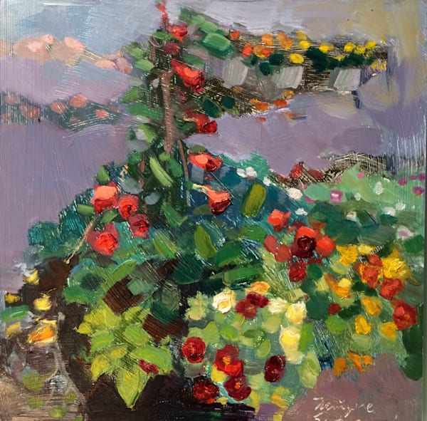 "Original plein air oil painting, ""Mandevilla Tower"" of red mandevilla vine, nasturtiums and coleus, a true summer garden, oil on wood, 8x8"", framed with a 1/4"" white wood floater frame."