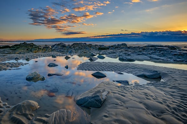 Sunrise Reflections on Wells Beach, by Rick Berk