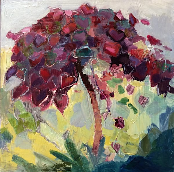 """Gorgeous """" Ruby Heart Leaves Lavender Redbud Tree"""" by Monique Sarkessian. Oil painting measures 8""""x8"""" ,framed with a white wood floater frame."""