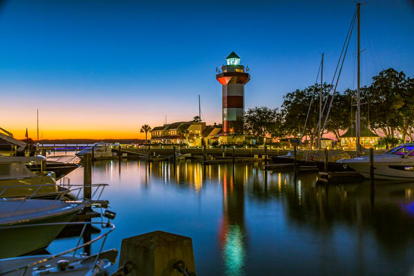 Fine Art print of Harbor Town Lighthouse at Blue Hour in Hilton Head, South Carolina.