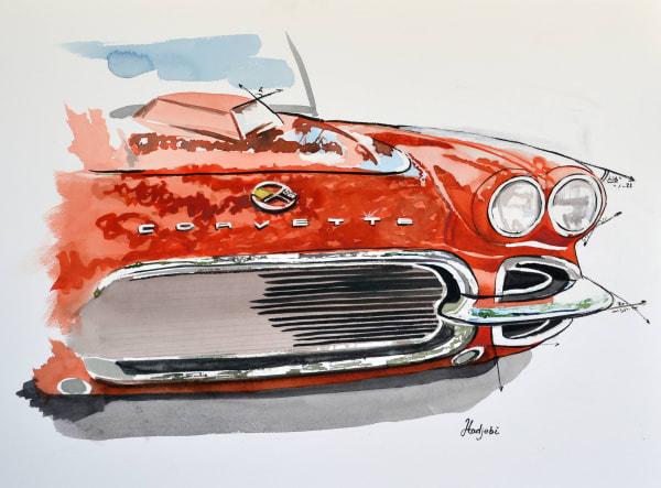 Watercolor sketch of a red corvette