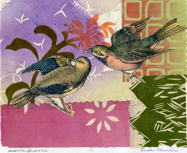 songbird collage art for sale, Ouida Touchon, fine artist, chine colle technique