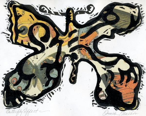 Butterfly Effect, original woodcut print for sale|Ouida Touchon