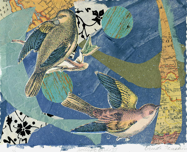 Twilight Birds 6, chine colle fine art collage for sale as prints in a variety of media by artist Ouida Touchon