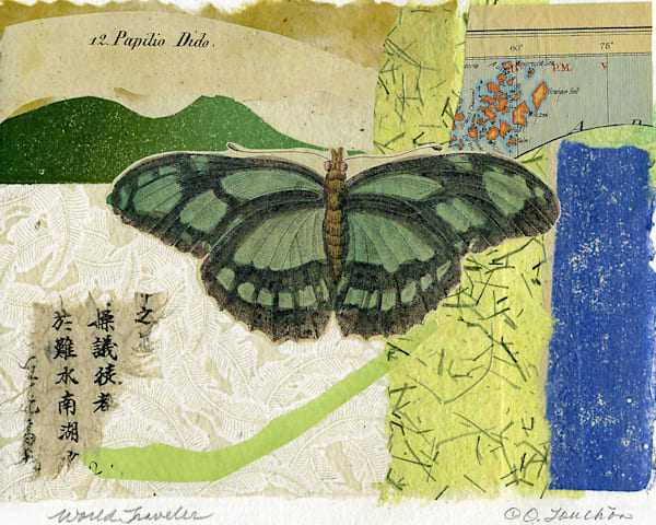 original collage fine art for sale,  antique paper butterfly prints, vintage papers,  vintage maps, by Ouida Touchon, artist.  artwork for sale,  assorted sizes.