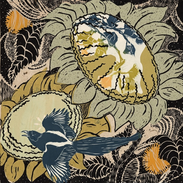 Magpie's Garden, woodcut with chine colle, by Ouida Touchon