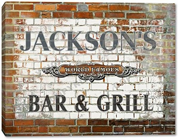 Brick Wall Bar & Grill Canvas Sign | J Edgar Cool