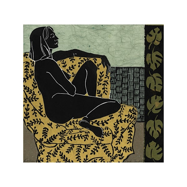 New original work | Viridian, from the Languor Series | Matted linocut print by Ouida Touchon, fine artist.