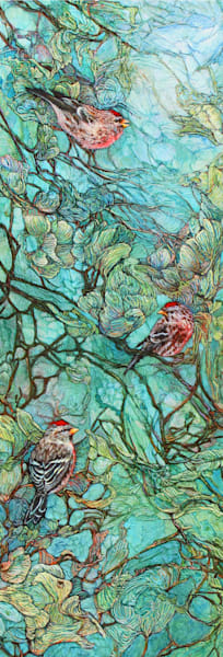 Aquamarine Labyrinth, Redpolls | Col Mitchell Contemporary Paper Artist