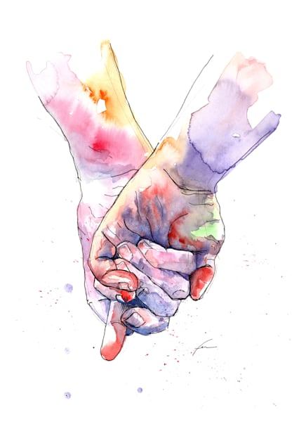 Holding Hands Watercolor Study 4 Art Print