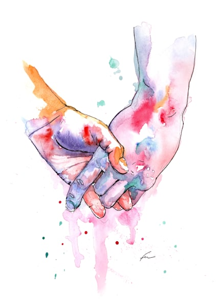 Holding Hands Watercolor Study 5 Art Print