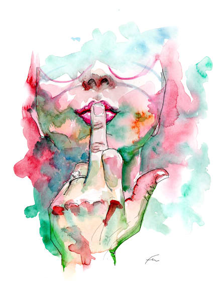 The Finger Feminist Watercolor Art Print