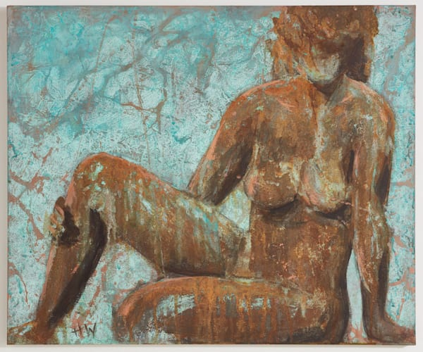 Seated rusty figure by Holly Whiting