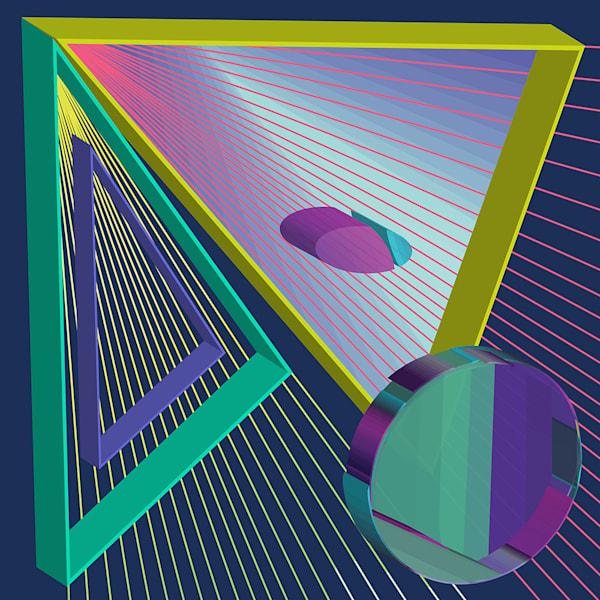 spectrum, 3d, triangle, space, wall art