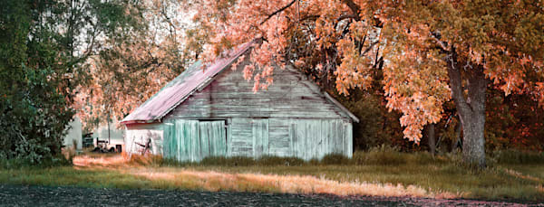 Golden Light-color; Outbuilding on 21st Street. Color fine art photograph by nationally recognized artist, David Zlotky